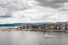 Oslo marina and Aker Brygge from above, Norway Royalty Free Stock Images