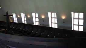 Oslo marine museum. 7/5/2017: Oslo, Norway: View of viking ship stock video footage