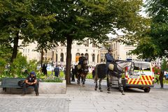 Oslo mounted police at the parliament building and demonstration Stock Photography