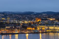 Oslo Norway. Oslo night city skyline at Oslo City Hall and Harbour, Oslo Norway stock images