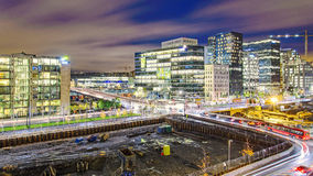 Oslo Night view. Night view from the roof of Oslo Opera house Royalty Free Stock Photography