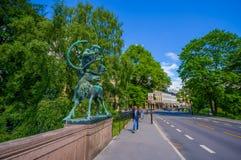 OSLO, NOORWEGEN - 8 JULI, 2015: Beroemde Ankerbrua met Royalty-vrije Stock Foto's