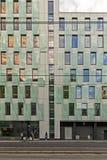 Oslo, Noorwegen, 10 september 2017 - Voorgevel van de bouw van de streepjescodegebouwen Stock Foto's