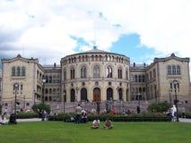 OSLO NORGE - Juli, 2007: Norsk parlamentbyggnad Stortinget i Oslo royaltyfri fotografi