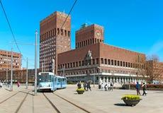 Oslo noruega O salão de cidade foto de stock royalty free