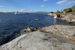 Oslo, Norvège - 24 juillet 2018 : Vue vers le fjord d'Oslo photo stock