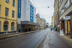 OSLO, NORVEGIA - 26 MARZO, 2018: La vista all'aperto del tram allinea nella terra a Oslo in Norvegia Fotografie Stock