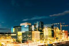 Oslo Norvegia Vista panoramica di notte del distretto contemporaneo di ciao Immagine Stock Libera da Diritti