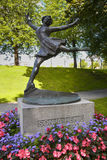 OSLO, NORWAY – AUGUST 18, 2016: Bronze statue of women skater. Sonja Henie, she is Norwegian Olympic Ice Skating and Gold Medal Winner located on Vigeland Stock Images