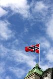 Oslo, Norway. Norwegian flag on building in Oslo, Norway royalty free stock photo