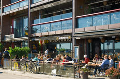 Oslo. Norway. Cafes and restaurants on the waterfront in the  Aker Brygge. Oslo. Norway Stock Images