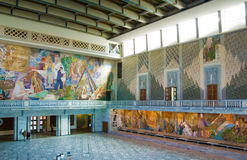Oslo. Norway. Main hall in the City Hall of Oslo. Norway. Murals featuring the Norwegian people in action Stock Photo