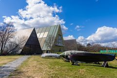 The Fram Museum is a museum telling the story of Norwegian pola. OSLO, NORWAY - APRIL 26, 2018: The Fram Museum is a museum telling the story of Norwegian polar stock photography