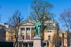 Statue of Henrik Wergeland Norwegian poet. OSLO, NORWAY - APRIL 26, 2018: Statue of Henrik Wergeland Norwegian poet located between the royal palace and the royalty free stock photo
