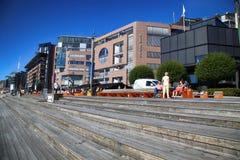 OSLO, NORWAY – AUGUST 17, 2016: People walking on modern distr Stock Photography