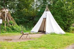 Sami hut. Oslo, Norway-August 13, 2014 - Sami hut and tent at Norsk Folkemuseum Stock Photo