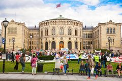 Oslo parliament building and demonstration Royalty Free Stock Photo