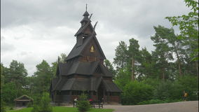 OSLO - NORWAY, AUGUST 2015: stave church, timelapse stock video