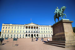 OSLO, NORWAY – AUGUST 17, 2016: Tourist visit The Royal Palace Royalty Free Stock Photo