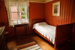 House interior at Norsk Folkemuseum. Oslo, Norway-August 13, 2014 - Traditional old house interior at Norsk Folkemuseum royalty free stock image