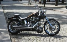 A motorbike parked in Oslo Stock Photos