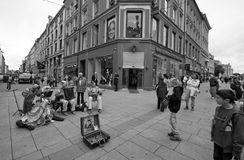 Oslo Norway. City centre artist and tourists Stock Photo