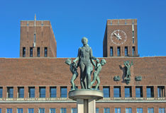 Oslo, Norway city hall. South side of the Oslo, Norway city hall. The building houses the city council, city administration and art studios and galleries. The royalty free stock photography