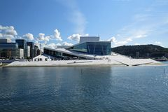 Oslo, Norway, Europe: August 23, 2013: View on the Opera House and the business district of Oslo royalty free stock images