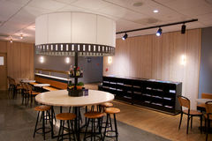 OSLO, NORWAY - JAN 21st, 2017: airport business class lounge interior of SAS, seating area in a frequent flyer lounge Royalty Free Stock Photography