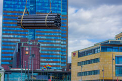 OSLO, NORWAY - 8 JULY, 2015: Bundles construction Stock Images