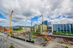 OSLO, NORWAY - 8 JULY, 2015: Busy construction Royalty Free Stock Photo