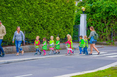 OSLO, NORWAY - 8 JULY, 2015: Group of kindergarden Stock Images