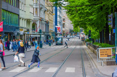 OSLO, NORWAY - 8 JULY, 2015: Daily life in busy Royalty Free Stock Photography