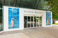 Munch Museum in Oslo. OSLO, NORWAY - JULY 21, 2017: Munch Museum is an art museum in Oslo, Norway. Munch Museet dedicated to the Norwegian artist Edvard Munch stock photos
