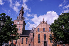 OSLO, NORWAY: Oslo Cathedral at Karl Johans Gate, Oslo, Norway Stock Image