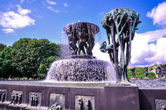 OSLO, NORWAY: Sculpture statues and the fountain in Vigeland Sculpture Park in Oslo, Norway Royalty Free Stock Photo
