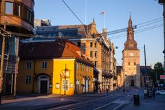 Stortorvet square Central Oslo Norway Scandinavia. OSLO, NORWAY - JULY 22, 2018: Stortorvet square, one of the most popular tourist attraction in Oslo with stock image