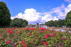 OSLO, NORWAY: Tourists enjoying at Vigeland Sculpture Park in Oslo, Norway Royalty Free Stock Image