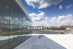 OSLO, NORWAY - JULY 09: View on a side of the National Oslo Opera House Stock Images
