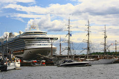 OSLO, NORWAY - JUNE 26. View from the fjord to the ships and yachts in the June 26, 2012 in Oslo, Norway Stock Images
