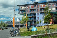 Modern residential buildings in Sorenga in Oslo, Norway. Oslo, Norway - June 26, 2018: Modern residential buildings in Sorenga district of Oslo`s harbour royalty free stock photos