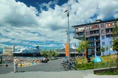 Modern residential buildings in Sorenga in Oslo, Norway. Oslo, Norway - June 26, 2018: Modern residential buildings in Sorenga district of Oslo`s harbour stock images