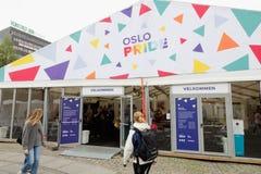 Oslo Pride art tent. Oslo, Norway - June 20, 2019: The Oslo Pride festival art exebition tent stock image