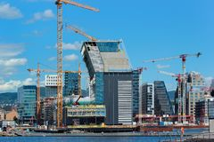 Waterfront of Oslo, Norway. Oslo, Norway - June 26, 2018: Oslo waterfront as seen from Sorenga district in Oslo`s harbour promenade. Construction cranes and new stock photography