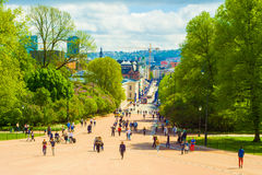 Oslo, Norway. Karl Johans Gate seen from the Royal Palace, Oslo, Norway stock photos