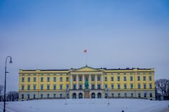 OSLO, NORWAY - MARCH, 26, 2018: Outdoor view of the Royal Palace, was built in the first half of the 19th century in. Norway Stock Photos