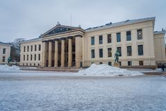 OSLO, NORWAY - MARCH, 26, 2018: Outdoor view of the Royal Palace, was built in the first half of the 19th century in. Norway Royalty Free Stock Photography