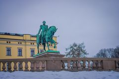 OSLO, NORWAY - MARCH, 26, 2018: Outdoor view of Statue of King Karl Johan outside The Royal Palace in Oslo. In Norway Stock Photography