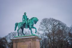 OSLO, NORWAY - MARCH, 26, 2018: Outdoor view of Statue of King Karl Johan outside The Royal Palace in Oslo. In Norway Stock Photos