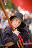 Oslo, Norway - May 17, 2010: National day in Norway. Norwegian boy at traditional celebration and parade on Karl Johans Gate street Royalty Free Stock Photos